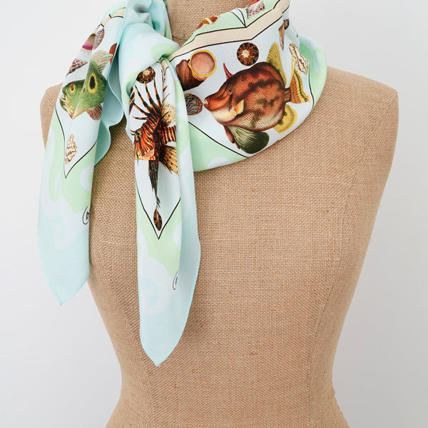 Carson and Co Aqua Two Fish Silk Scarf