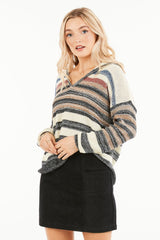 Very J Striped Hooded Pullover