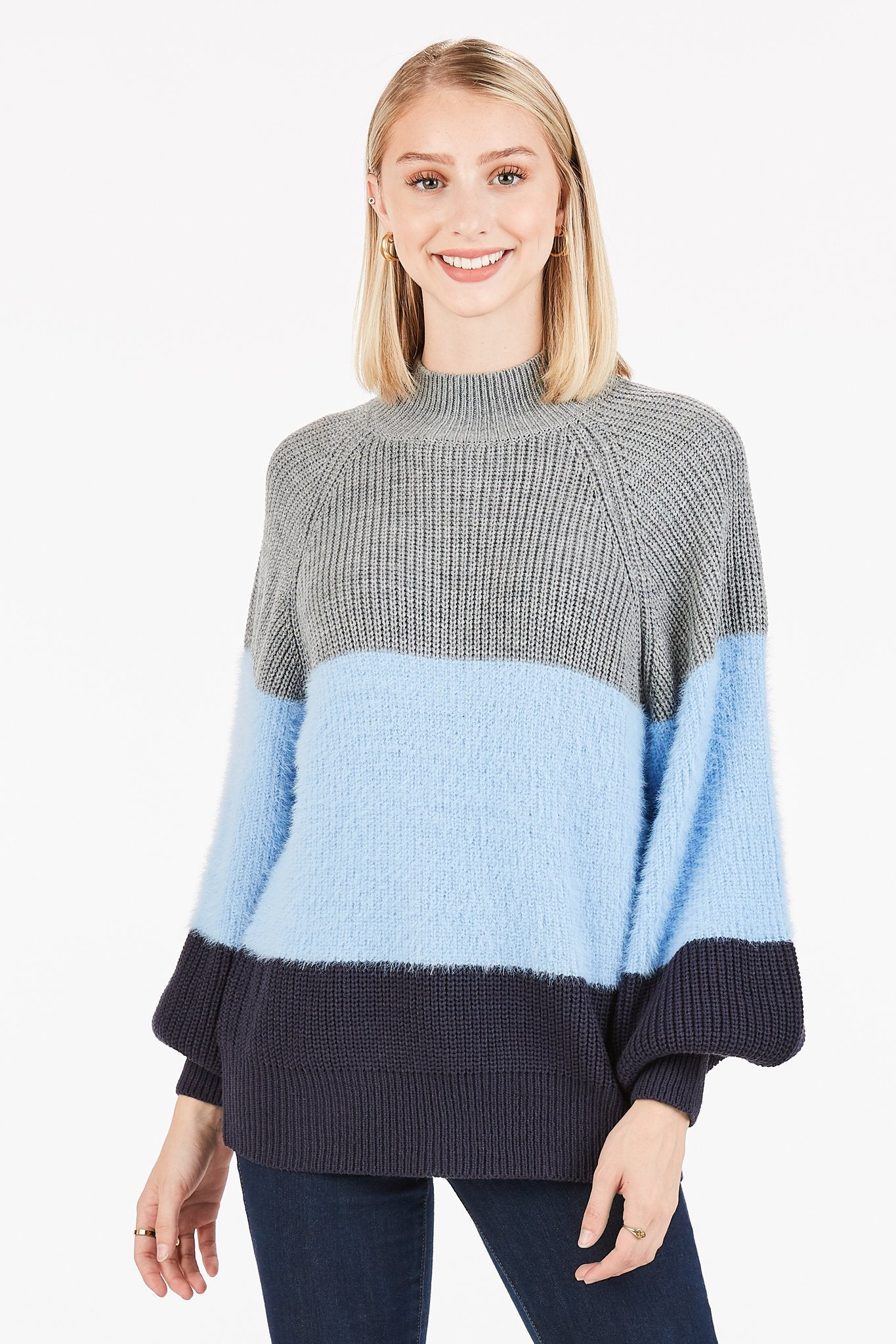 Very J Striped Mock Neck Sweater