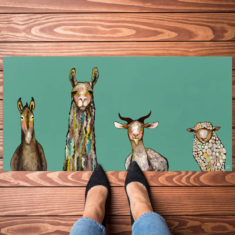 Greenbox Donkey Llama Goat Sheep Floorcloth 40X20