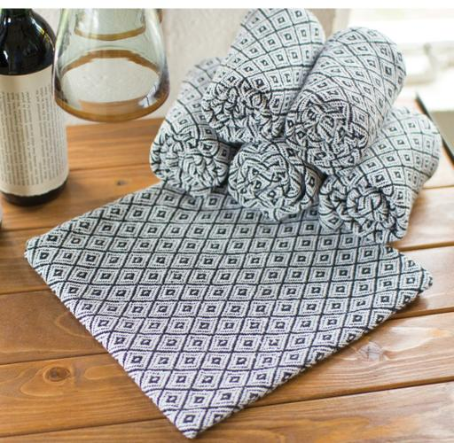 Kalalou S/6 Cotton Napkins Blk & Wht Diamonds