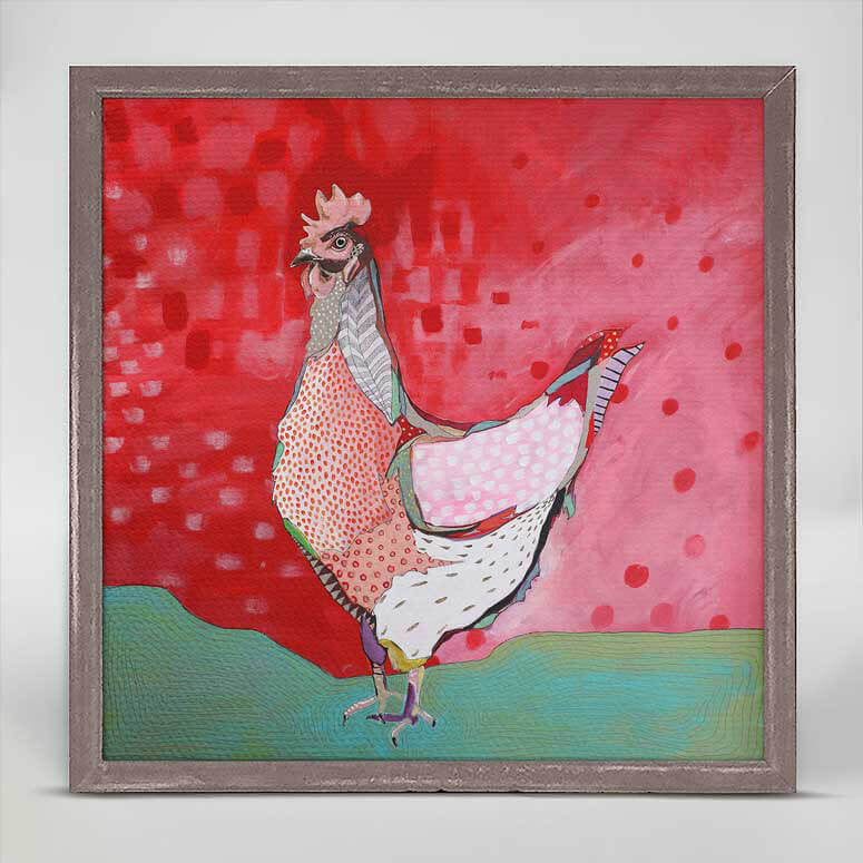 Greenbox Red and Pink Hen Mini Framed Canvas