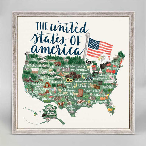 Greenbox United States of America Mini Framed Canvas
