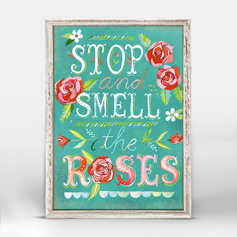 Greenbox Stop & Smell The Roses Mini Framed Canvas