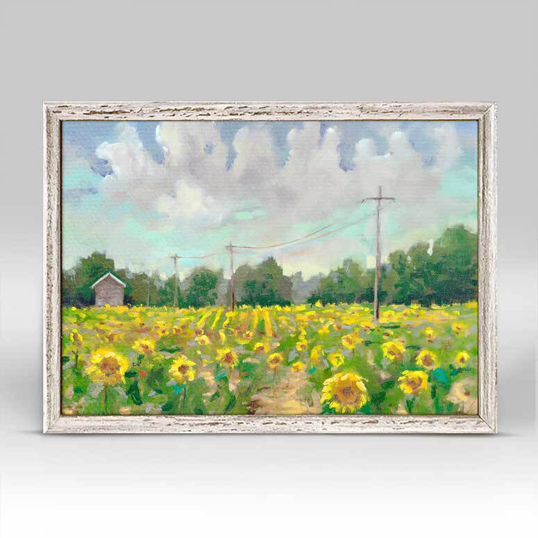 Greenbox Sunflower Field Mini Framed Canvas