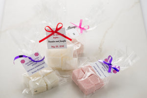 Wedding Favors with Personalized Labels | Sugar Scrub Cubes