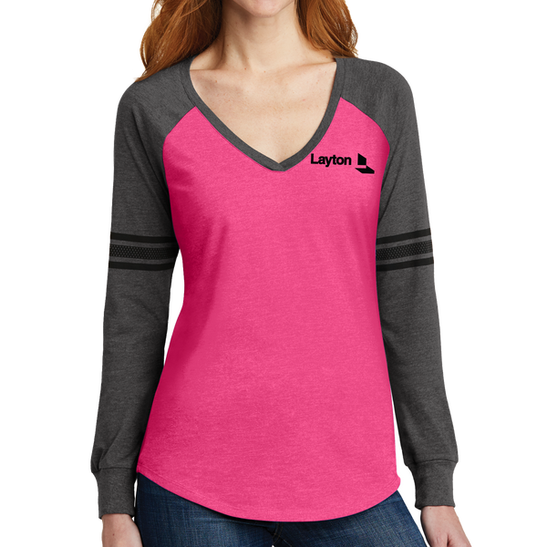District Made Ladies Game Long Sleeve V-Neck Tee