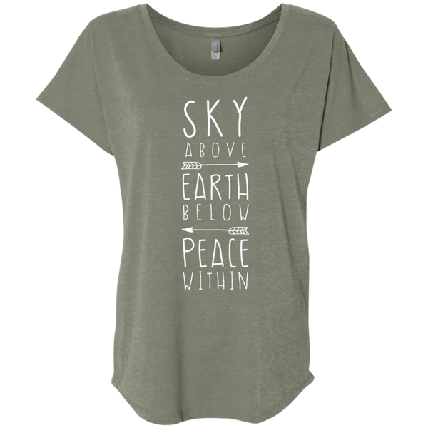 """Sky Earth Peace"" Ladies' Triblend Tee - Moonsun Malibu"
