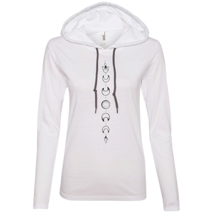 """Moon Cycle"" Ladies' T-Shirt Longsleeve Hoodie - Moonsun Malibu"