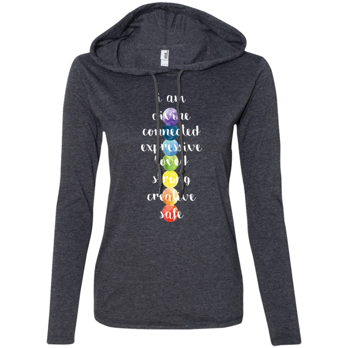 """Chakra Love"" Ladies' T-Shirt Longsleeve Hoodie - Moonsun Malibu"