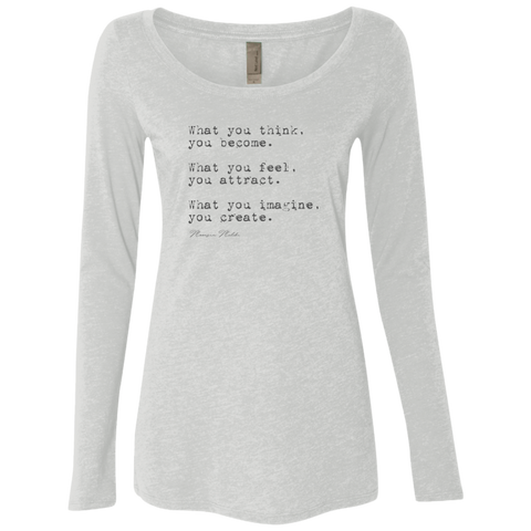 """Become Attract Create"" Ladies' Triblend Longsleeve - Moonsun Malibu"