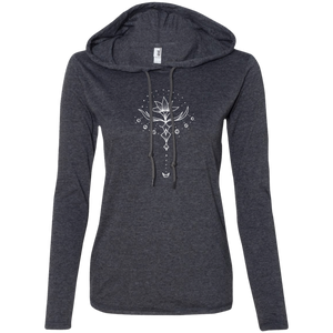 """Emerging Lotus"" Ladies' T-Shirt Longsleeve Hoodie - Moonsun Malibu"