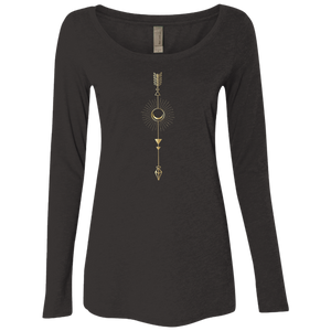 """Moon Arrow"" Ladies' Triblend Longsleeve - Moonsun Malibu"