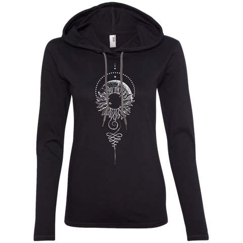 """Eclipse"" Ladies' T-Shirt Longsleeve Hoodie - Moonsun Malibu"