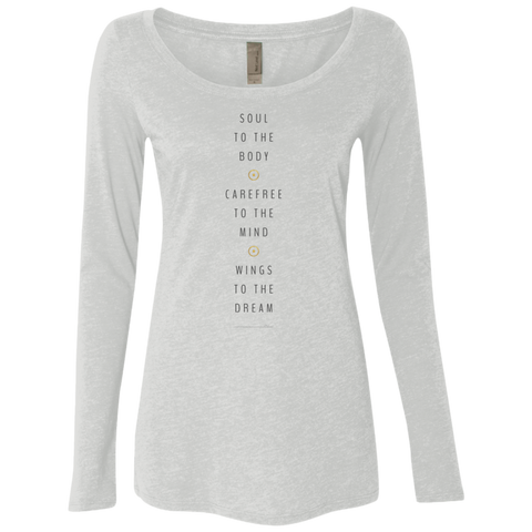 """Wings To The Dream"" Ladies' Triblend Longsleeve - Moonsun Malibu"