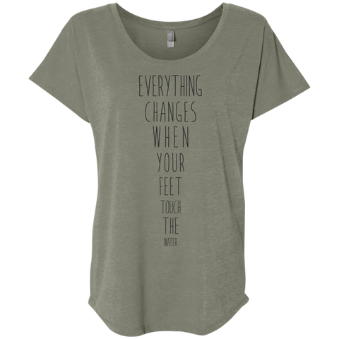 """Everything Changes When Your Feet Touch The Water"" Ladies' Triblend Tee - Moonsun Malibu"