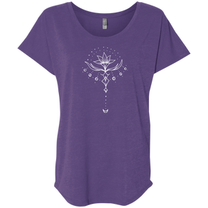 """Emerging Lotus"" Ladies' Triblend Tee - Moonsun Malibu"