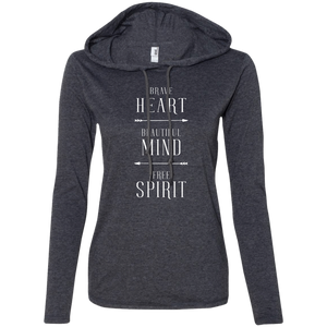"""Brave Beautiful Free"" Ladies' T-Shirt Longsleeve Hoodie - Moonsun Malibu"