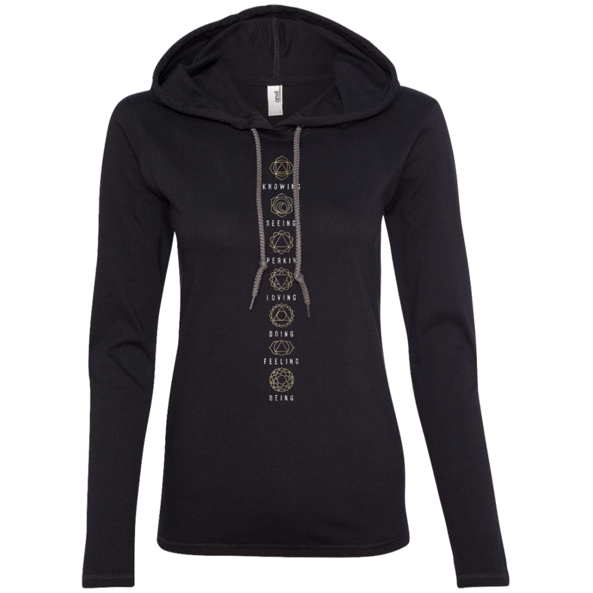 """Chakra Power"" Ladies' T-Shirt Longsleeve Hoodie - Moonsun Malibu"