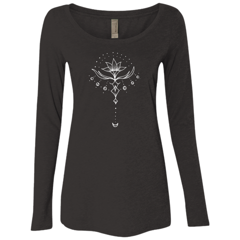"""Emerging Lotus"" Ladies' Triblend Longsleeve - Moonsun Malibu"