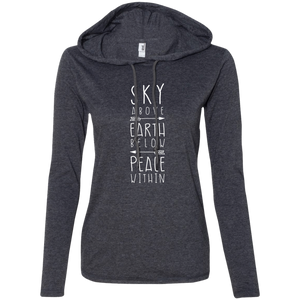 """Sky Earth Peace"" Ladies' T-Shirt Longsleeve Hoodie - Moonsun Malibu"