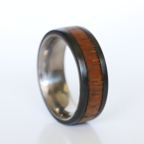 A custom koa wood ring