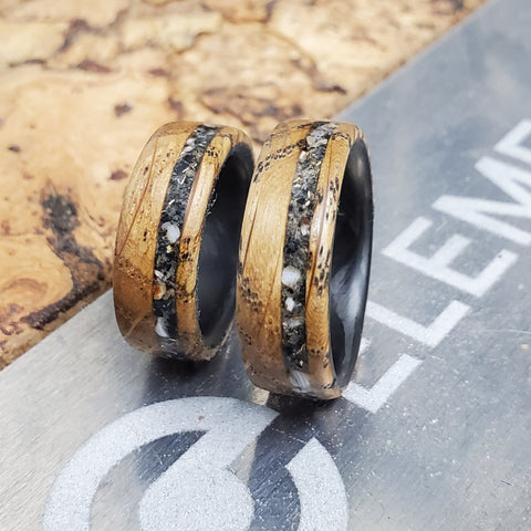 A pair of custom stone inlay rings