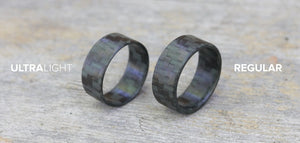 Comparing the regular and ultralight glowing carbon fiber rings