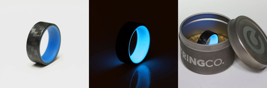 A collage of blue carbon fiber glow rings