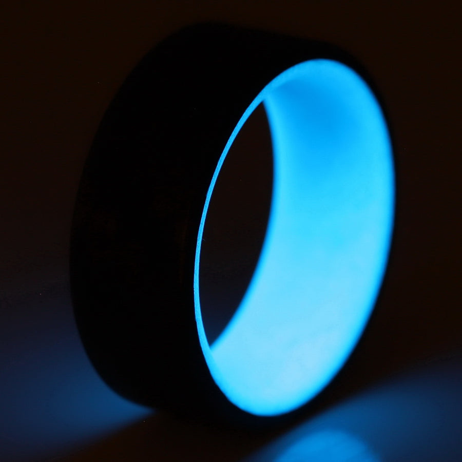 A glowing blue carbon fiber ring