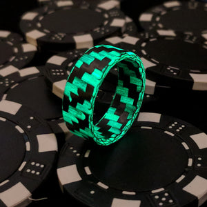 A glowing carbon fiber ring at poker night