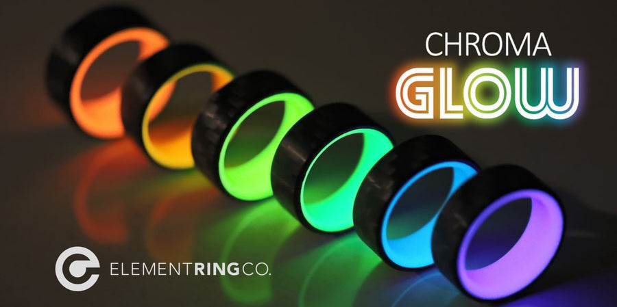 A lineup of carbon fiber glow rings in rainbow colors