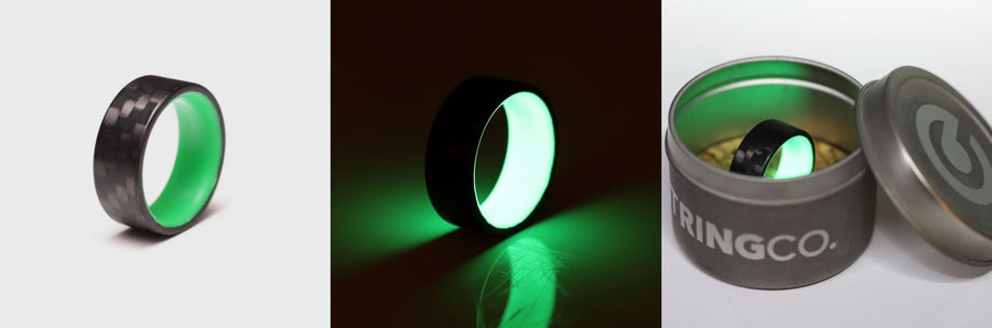 A collage of photos of the green carbon fiber glow ring