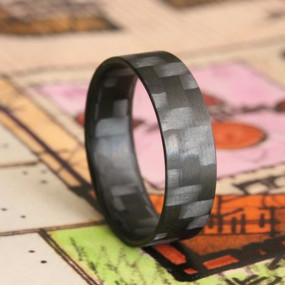 The Racer Ultralight - Thin Profile Twill Carbon Fiber Ring