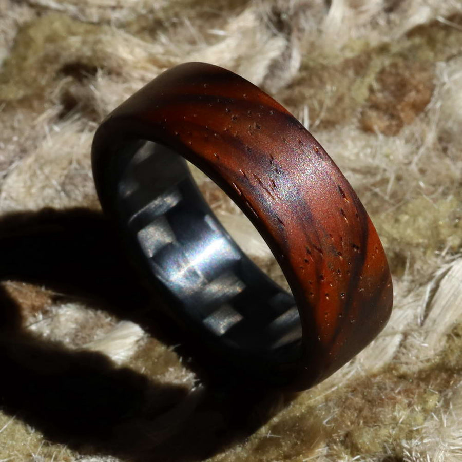 A ring made from cocobolo wood