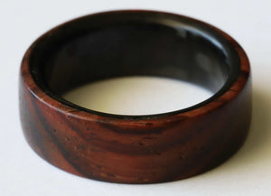 Cocobolo wood ring with carbon fiber ring on the side