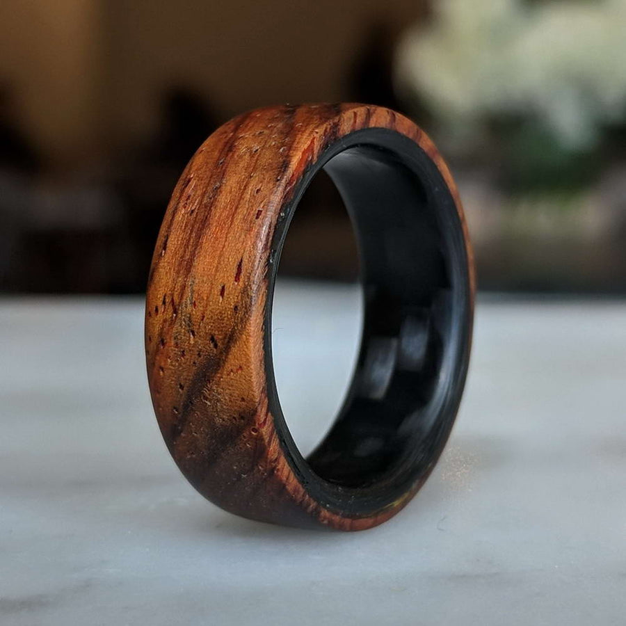 A cocobolo wood ring
