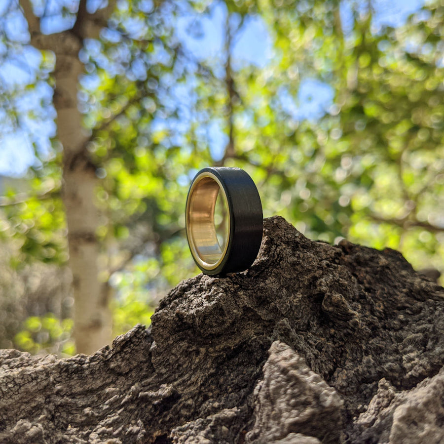 Gold and carbon fiber wedding ring