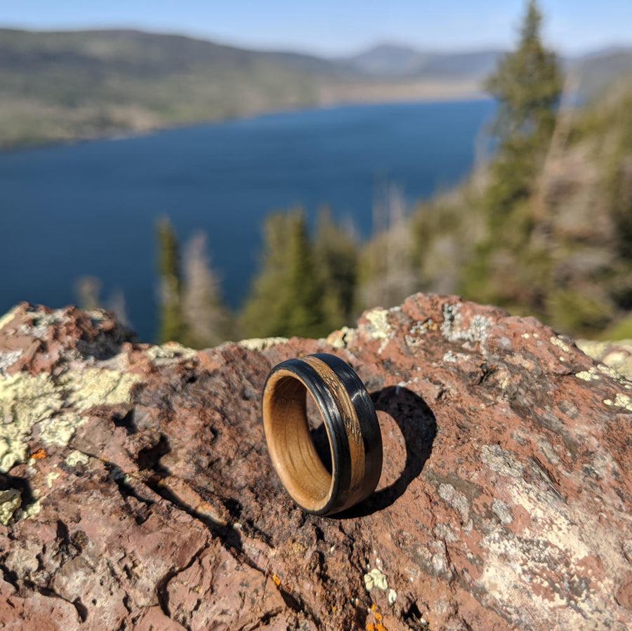A Whiskey Barrel Wood Wedding Ring