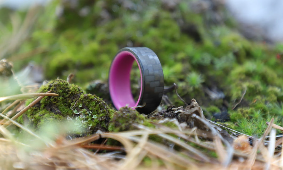 A carbon fiber glow ring in the grass