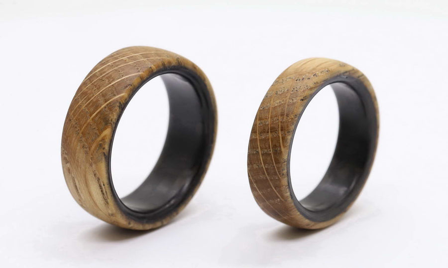Whiskey barrel wood ring and Carbon Fiber