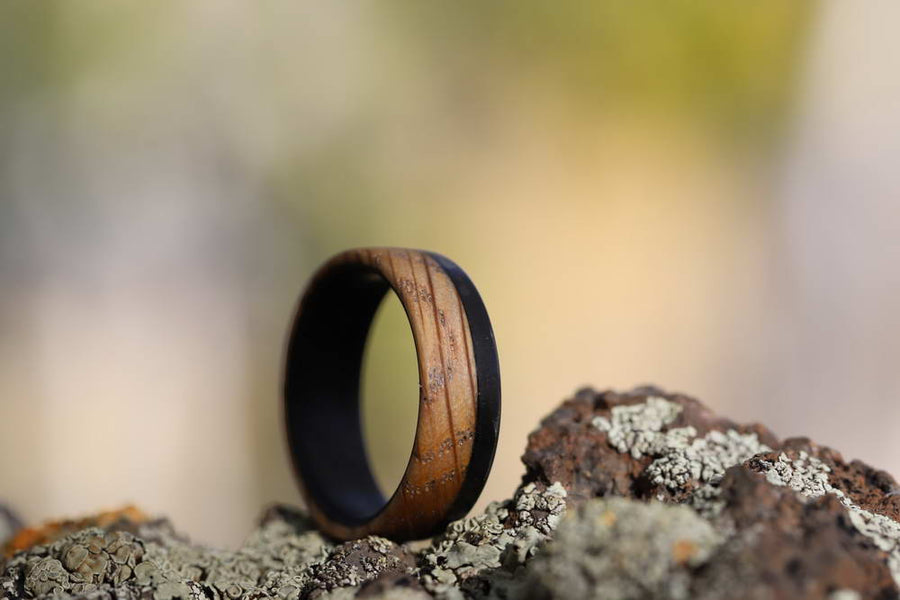 Whiskey Barrel Wood Ring on the rocks