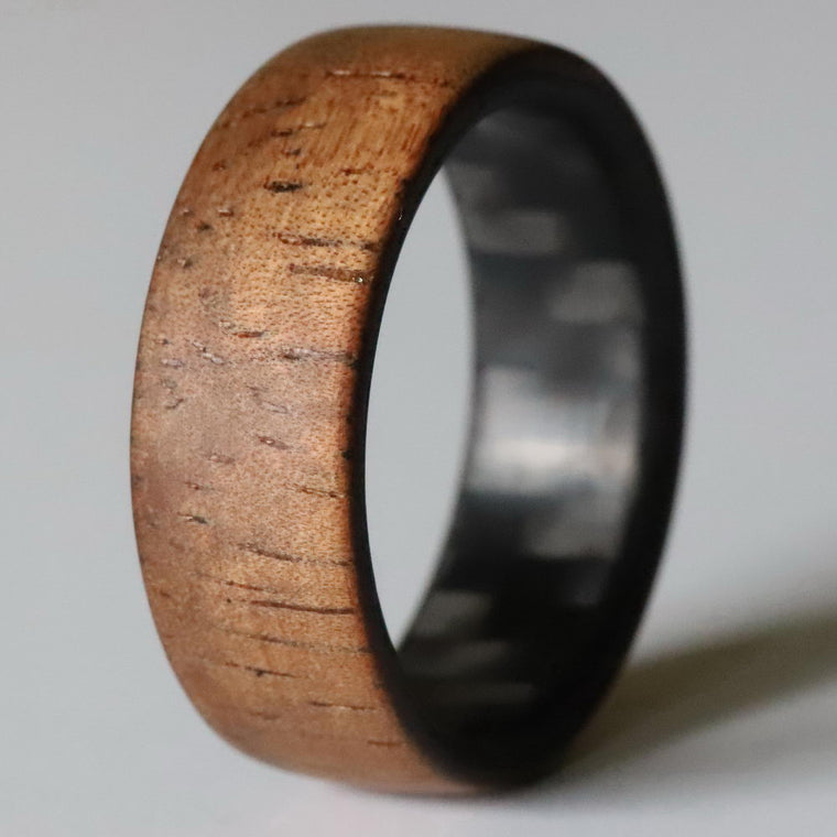 The Aloha - Twill Carbon Fiber and Koa Wood Ring