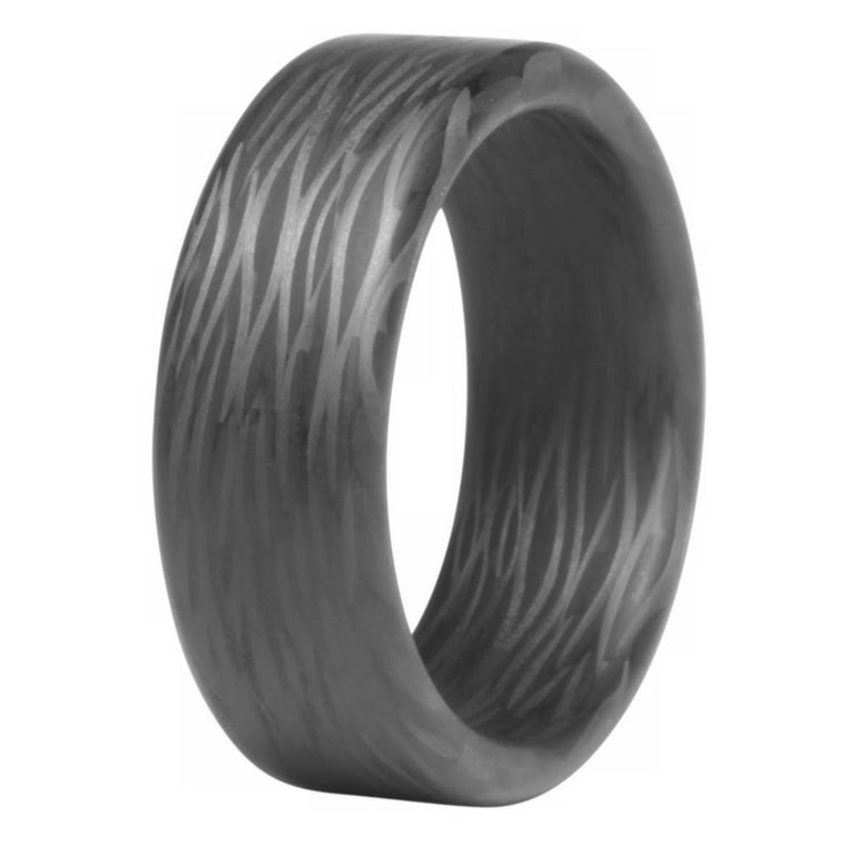 Wave Carbon Fiber Ring - Thin Profile Side Cut
