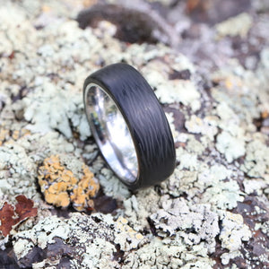 The Aviator - Wave Carbon Fiber and Titanium Ring