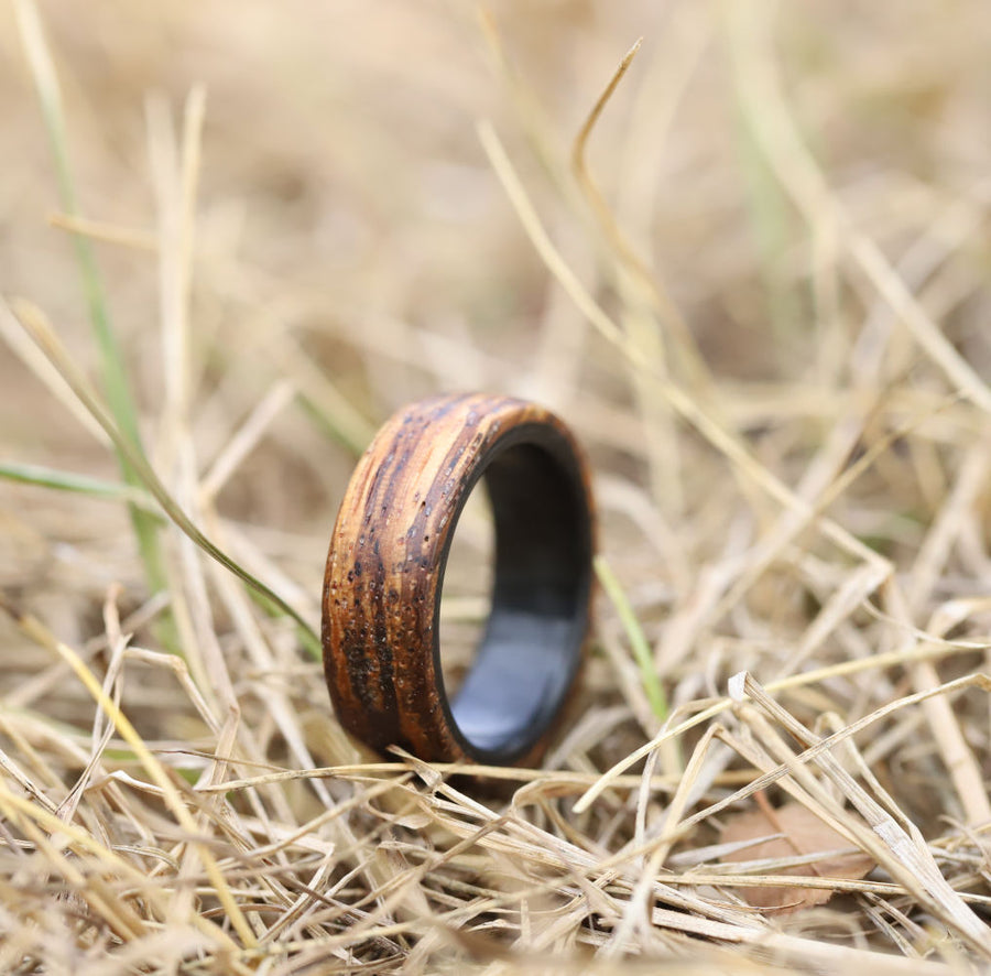 A wood ring made from zebra wood