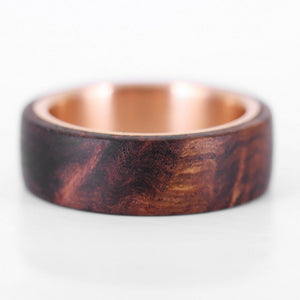 The Aristocrat - Rose Gold and Rosewood Burl Ring