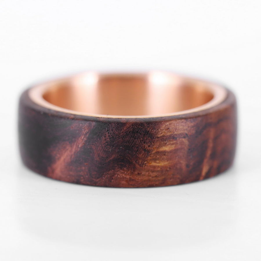 The Aristocrat rose wood and rose gold wedding ring