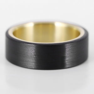 The Knight - Uni Carbon Fiber and Yellow Gold Ring