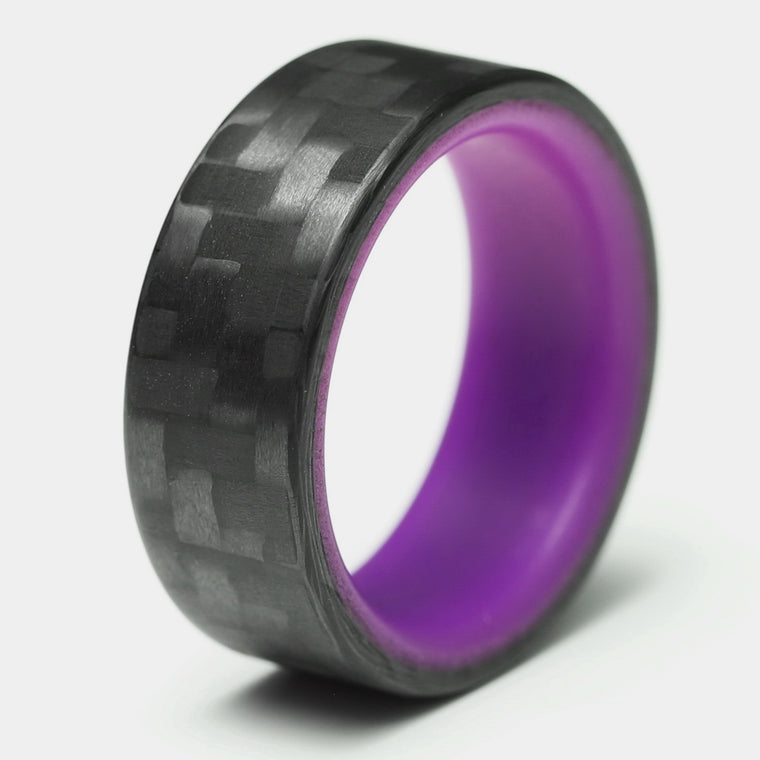 The Purple Racer - Twill Carbon Fiber Ring + Purple Chroma Glow Liner